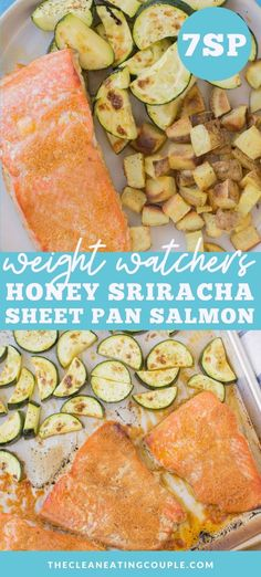 This Honey Sriracha Salmon Sheet Pan Dinner is delicious and simple. Done in 30 minutes, this healthy dinner is paleo, gluten free and easy to make! Baked in the oven, this delish recipe has the perfect marinade and is so yummy! Easy Clean Eating Recipes, Clean Eating Diet, Easy Healthy Dinners, Easy Meal Prep, Healthy Meal Prep, Healthy Weight, Lunch Recipes, Seafood Recipes, Healthy Dinner Recipes