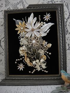 Framed Jewelry Picture Vintage Jewelry Home Decor by VintageRedo