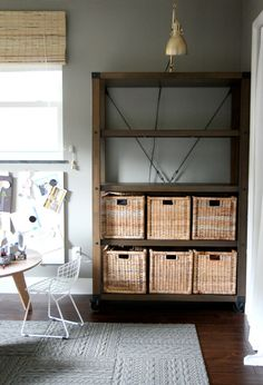 gray FLOR tiles and super organized slim shelves Diy Bookshelf Plans, Diy Bookcases, Bookcase Shelves, Book Shelves, Industrial Shelves, Industrial House, Bookshelf Lighting, House Tweaking, Rustic Baskets