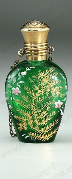 ANTIQUE & VINTAGE SCENT PERFUME BOTTLES. c.1890 GREEN GLASS SCENT PERFUME BOTTLE WITH RAISED ENAMEL FLORAL & GILT DECORATION. This item is sold, to visit my website to see what's in stock click here: http://www.richardhoppe.co.uk or for help or information email us here: info@richardhoppe.co.uk