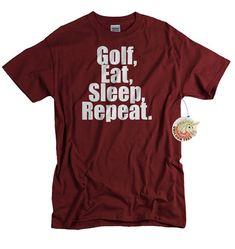 Golf T shirt funny golfer gift men women youth teen ladies tshirt golfing shirt navy blue golf eat sleep gift for father husband boyfriend on Etsy, $14.99