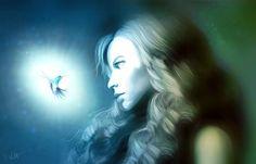 My little hope | blau blue frau | Digitale Kunst