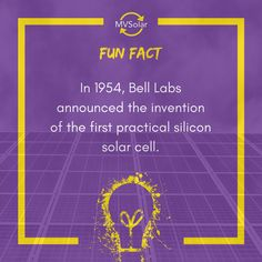 In Bell Labs announced the invention of the first practical silicon solar cell.