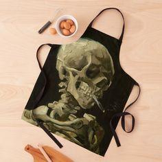 """Skull of a Skeleton with Burning Cigarette by Vincent van Gogh"" Apron by podartist   Redbubble Horror Artwork, Custom Aprons, Memento Mori, Vincent Van Gogh, Skeleton, Burns, Print Design, Skull, Reusable Tote Bags"