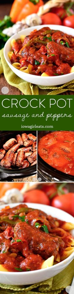 Crock Pot Sausage and Peppers is a mouthwatering and filling crock pot recipe. Perfect for game day, a cozy supper at home, or any night you're craving an Italian feast! | iowagirleats.com