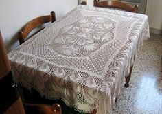 """NACHTSCHATTEN, a large rectangular tablecloth, approx. 50"""" x 60"""", when made with 550 grams crochet cotton"""