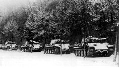 German Panthers from the 21st Panzer Division rolling through the Hagenau forest, early January 1945.