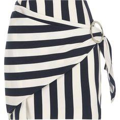 Stripe Print Buckle Wrap Mini Skirt