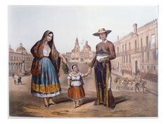 Mexican Family in Plaza Santo Domingo, Mexico City, C.1840 Giclee Print, not historical print?