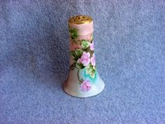 Royal Austria Hatpin Holder Pink Roses Hand Painted Artist Signed E. Schenk Antique Vanity Accessory Vintage Porcelain Austrian Gold Gilt by Kissisjustakiss on Etsy