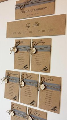 Kraft card and twine are a winning combo for rustic weddings – this table plan from Eaton Cards and Stationery is simple but undeniably rustic.