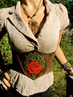 Carved leather Red Rose waist cincher.