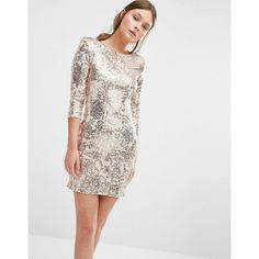 TFNC Patterned Sequin Mini Dress with 3/4 Sleeve ($87) ❤ liked on Polyvore featuring dresses, gold, bodycon mini dress, sequin bodycon dress, print bodycon dress, pattern dress and three quarter sleeve dress