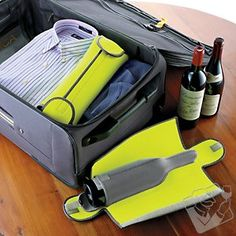 BottleGuard Neoprene Wine Protector $14.99 - Traveling with wine? Hire protection. Two layers of shock-absorbent, insulating neoprene are what stand between your wine and the hazards of travel. Velcro closures assure a snug trip for most standard-size wine bottles (and some spirits bottles). Fits easily in a suitcase. #WineEnthusiast