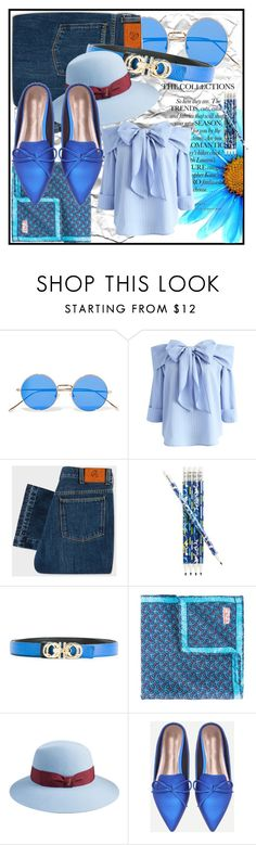 """Light Blue"" by beograd-love ❤ liked on Polyvore featuring Illesteva, Chicwish, Paul Smith, Vera Bradley, Salvatore Ferragamo, Fefē and Borsalino"