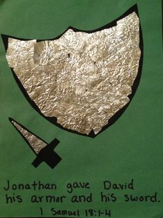 Old Sunday School crafts: Jonathan & David, 1 Samuel 18:1-4