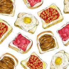 Toastyyy #watercolours #illustration #food #toast #pattern