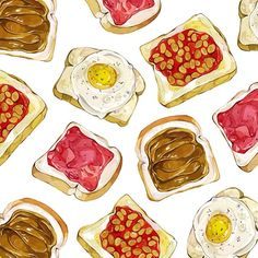 Toastyyy #watercolours #illustration #food #toast #pattern