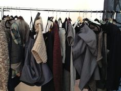 Another snapshot backstage of Kim Cather's beautiful collection for the Value Village 68 Pound Challenge. Bubble skirts, dresses and neat looks upcycled from thrifted menswear, suits and textiles.