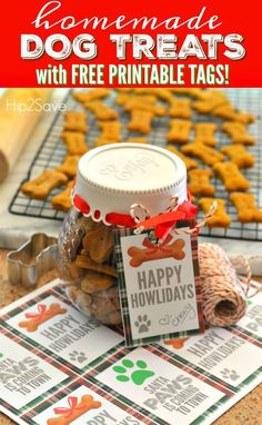 """Homemade Dog Food Homemade Dog Treats Recipe with FREE Printable """"Happy Howlidays"""" Gift Tags - Homemade dog treats are easier than you'd think and make a terrific homemade Christmas gift paired with our FREE printable doggy gift tags! Puppy Treats, Diy Dog Treats, Healthy Dog Treats, Dog Biscuit Recipes, Dog Treat Recipes, Dog Food Recipes, Homemade Dog Cookies, Homemade Dog Food, Pumpkin Dog Treats"""
