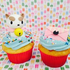 Bee and PuppyCat Cupcakes! Part of the Cupcake set that cartoonhangover ordered for their Birthday Celebration. Puppycat is made from Fondant, and sitting in an Un-Birthday Cake Cupcake- Look,. Cupcake Birthday Cake, Cupcake Cakes, Cupcakes, Grown Up Parties, Bravest Warriors, Bee Party, Small Cake, Asmr, Sweet Life