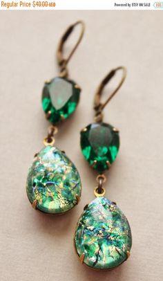 SALE Vintage Emerald Opal Earrings,Emerald Green Glass Fire Opal,RARE,Swarovski Earrings,Faux Opal Earrings,Opal Jewelry,Hourglass,Rhineston