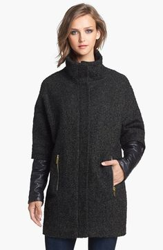 $93, Faux Leather Sleeve Boucle Tweed Coat X Small by Vince Camuto. Sold by Nordstrom. Click for more info: http://lookastic.com/women/shop_items/91100/redirect