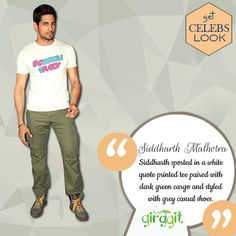 Siddharth Malhotra sported in a white quote printed tee paired with dark green cargo and styled with grey casual shoes. Right now, he is busy in promoting his upcoming movie Baar Baar Dekho opposite Katrina Kaif. #GetTheCelebLook #Tees #SiddharthMalhotra #Girggit #GetTheLook #TShirt #CelebLook #CoolLook