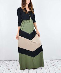Look what I found on #zulily! Black & Olive Chevron Maxi Dress #zulilyfinds