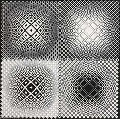 View Lang by Victor Vasarely on artnet. Browse upcoming and past auction lots by Victor Vasarely. Victor Vasarely, Black And White Wall Art, Black And White Abstract, Art Optical, Optical Illusions, Bridget Riley, Zentangle, Impossible Shapes, Opt Art