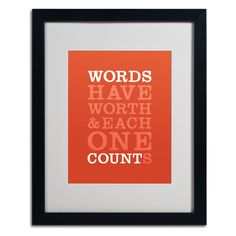 Words Worth II by Megan Romo Matted Framed Textual Art