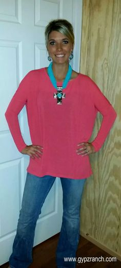 On a Whim Coral Piko Tunic Top www.gypzranch.com