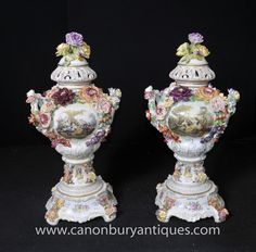 An exquisite pair of three piece two handled covered vases having hand painted foliate decoration marked Dresden. Dresden Porcelain, China Porcelain, Urn Vase, Vases, So Little Time, Floral Motif, Glass Art, German, Auction