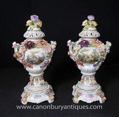 Photo of Pair German Dresden Porcelain Floral Encrusted Urns Vases