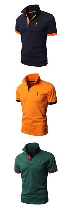 Mens Casual Slim Fit Polo T-Shirts Basic Designed of Various Styles Polo Shirt Style, Polo Shirt Design, Polo T Shirts, Work Casual, Men Casual, Smart Casual, Giraffe Shirt, Slim Fit Polo, Uniform Shirts