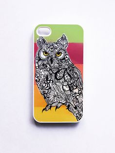 iPhone 4 Case  Horned Owl Zentangle Art by MayhemHere on Etsy, $28.00