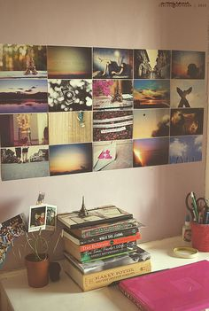 I love photo walls!  Bedroom decoration inspiration. Chalk board photo wall, and knick knacks