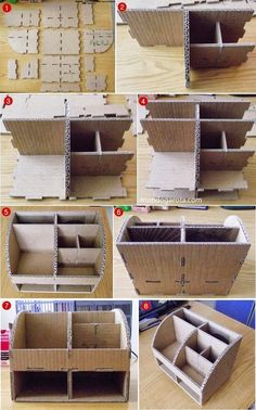 Stunning Diy Cardboard Wall Ideas To Beautify Your Room – cardboard crafts diy Diy Makeup Organizer Cardboard, Make Up Organizer, Desk Organization Diy, Diy Desk, Cardboard Box Storage, Diy Cardboard Furniture, Cardboard Crafts, Diy Furniture, Furniture Online