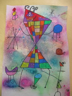 Miro - Each student drew a larger, detailed figure with smaller symbols and figures surrounding the big one. Student's colored their figures with oil pastel and then sprayed watercolor lightly in several places to create a misty, surreal quality.