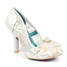 Irregular Choice Shoes : Glinda  Simply stunning, these elegant high heels featuring cream metallic lace fabric and pretty heart trims are marvellously magical!  The perfect pair to bring a hint of vintage style to your bridal look.