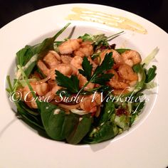 Our tasty shrimpsalad with babyspinach, argula, garlic and honeymustardsauce