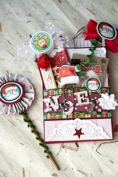 Christmas Loaded Bag Tutorial – Snail mail with Kora projects Snail Mail loaded bag Christmas Gift Tags, Christmas Fun, Exploding Gift Box, Pochette Surprise, Snail Mail Pen Pals, Stampin Up, Creative Gift Wrapping, Jingle All The Way, Scrapbook Supplies