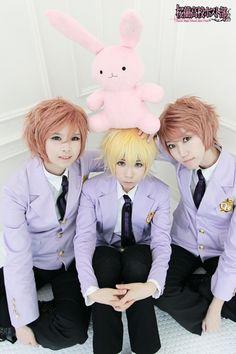 Hitachiin Brothers (Kaoru & Hikaru) with Honey (holding Usa-chan) ^w^ #cosplay