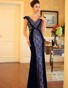 Formal Evening Dress Trumpet/Mermaid V-neck Floor-length Satin Dress – CAD $ 208.49