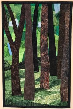 Art Quilts Gallery - Art Quilts by Sharon Landscape Art Quilts, Abstract Landscape, Abstract Trees, Applique Wall Hanging, Quilted Wall Hangings, Tree Quilt, Quilt Art, Art Quilting, Forest Color