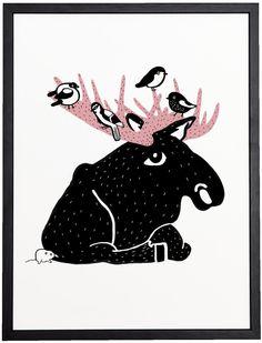Elk poster pink