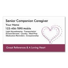 Caregiver Business Cards. This is a fully customizable business card and available on several paper types for your needs. You can upload your own image or use the image as is. Just click this template to get started!