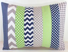 Pillow Cover Baby Boy Nursery Decor Patchwork by theredpistachio, $22.50