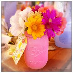 Neon Pink Mason Jar! Cute centerpeice for kitchen table