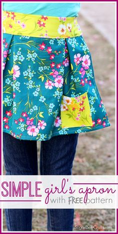 sew this simple girl's apron - with FREE pattern and tutorial - - Sugar Bee Crafts